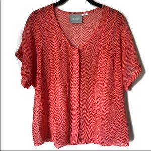 Maeve by Anthropologie Coral Sheer SS Button up